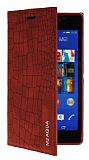 Eiroo Snake Sony Xperia M2 Aqua Gizli Mıknatıslı Yan Kapaklı Kırmızı Deri Kılıf