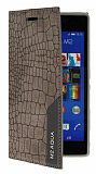 Eiroo Snake Sony Xperia M2 Aqua Gizli Mıknatıslı Yan Kapaklı Gri Deri Kılıf