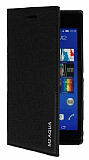 Eiroo Snake Sony Xperia M2 Aqua Gizli Mıknatıslı Yan Kapaklı Siyah Deri Kılıf