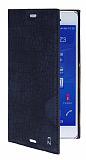 Sony Xperia Z3 Snake Gizli Mıknatıslı Yan Kapaklı Lacivert Deri Kılıf