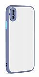 Eiroo Soft Touch iPhone XS Max Ultra Koruma Mavi Kılıf