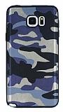 Eiroo Soldier Samsung Galaxy Note 5 Mavi Silikon Kılıf