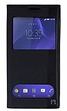 Eiroo Sony Xperia C3 Gizli Mıknatıslı Pencereli Siyah Deri Kılıf