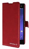 Eiroo Sony Xperia C3 Standlı Cüzdanlı Kırmızı Deri Kılıf