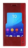 Sony Xperia C4 Gizli Mıknatıslı Pencereli Kırmızı Deri Kılıf