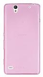 Sony Xperia C4 Ultra İnce Şeffaf Pembe Silikon Kılıf