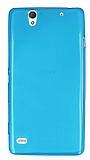 Sony Xperia C4 Ultra İnce Şeffaf Mavi Silikon Kılıf