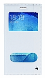 Samsung Galaxy J5 Gizli Mıknatıslı Çift Pencereli Beyaz Deri Kılıf