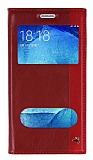 Eiroo Samsung Galaxy J5 Gizli Mıknatıslı Çift Pencereli Kırmızı Deri Kılıf