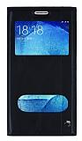 Samsung Galaxy J5 Gizli Mıknatıslı Çift Pencereli Siyah Deri Kılıf