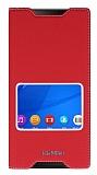 Sony Xperia C5 Ultra Gizli Mıknatıslı Çerçeveli Kırmızı Deri Kılıf
