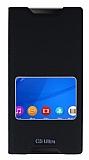 Sony Xperia C5 Ultra Gizli Mıknatıslı Çerçeveli Siyah Deri Kılıf