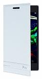 Lenovo P70 Ultra Gizli Mıknatıslı Yan Kapaklı Beyaz Deri Kılıf