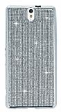Eiroo Sony Xperia C5 Ultra Taşlı Silver Silikon Kılıf