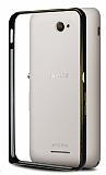 Eiroo Sony Xperia E4 Gold Çizgili Round Metal Bumper Çerçeve Siyah Kılıf