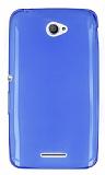 Sony Xperia E4 Ultra İnce Şeffaf Mavi Silikon Kılıf