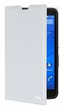 Eiroo Sony Xperia E4g Gizli Mıknatıslı Yan Kapaklı Beyaz Deri Kılıf