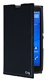 Sony Xperia E4g Gizli Mıknatıslı Yan Kapaklı Siyah Deri Kılıf