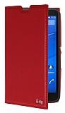 Eiroo Sony Xperia E4g Gizli Mıknatıslı Yan Kapaklı Kırmızı Deri Kılıf