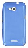 Sony Xperia E4g Ultra İnce Şeffaf Mavi Silikon Kılıf