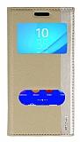 Sony Xperia M4 Aqua Gizli Mıknatıslı Çift Pencereli Gold Deri Kılıf