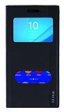 Sony Xperia M4 Aqua Gizli Mıknatıslı Çift Pencereli Siyah Deri Kılıf