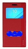 Sony Xperia M4 Aqua Gizli Mıknatıslı Çift Pencereli Kırmızı Deri Kılıf