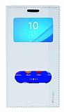 Sony Xperia M4 Aqua Gizli Mıknatıslı Çift Pencereli Beyaz Deri Kılıf