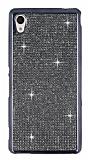 Eiroo Sony Xperia M4 Aqua Taşlı Dark Silver Silikon Kılıf