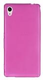Sony Xperia M4 Aqua Ultra İnce Şeffaf Pembe Silikon Kılıf