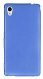 Sony Xperia M4 Aqua Ultra İnce Şeffaf Mavi Silikon Kılıf