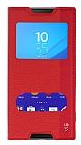 Sony Xperia M5 Gizli Mıknatıslı Çift Pencereli Kırmızı Deri Kılıf