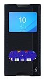 Sony Xperia M5 Gizli Mıknatıslı Çift Pencereli Siyah Deri Kılıf