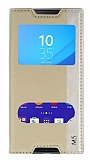 Sony Xperia M5 Gizli Mıknatıslı Çift Pencereli Gold Deri Kılıf
