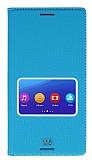 Eiroo Sony Xperia M5 Gizli Mıknatıslı Pencereli Mavi Deri Kılıf