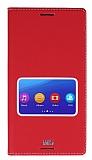 Sony Xperia M5 Gizli Mıknatıslı Çerçeveli Kırmızı Deri Kılıf
