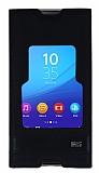 Sony Xperia M5 Gizli Mıknatıslı Pencereli Siyah Deri Kılıf