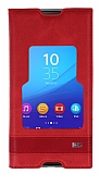 Eiroo Sony Xperia M5 Gizli Mıknatıslı Pencereli Kırmızı Deri Kılıf