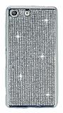 Eiroo Sony Xperia M5 Taşlı Silver Silikon Kılıf