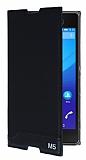 Sony Xperia M5 Gizli Mıknatıslı Yan Kapaklı Siyah Deri Kılıf