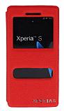 Eiroo Sony Xperia S Vantuzlu Pencereli Kırmızı Deri Kılıf