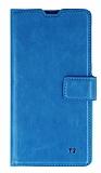 Eiroo Sony Xperia T3 Cüzdanlı Yan Kapaklı Mavi Deri Kılıf