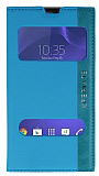 Eiroo Sony Xperia T3 Gizli Mıknatıslı Çift Pencereli Mavi Deri Kılıf