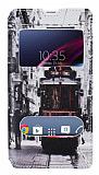 Eiroo Sony Xperia Z1 Gizli M�knat�sl� �ift Pencereli Taksim Deri K�l�f