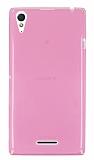 Eiroo Sony Xperia T3 Ultra İnce Şeffaf Pembe Silikon Kılıf