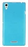 Eiroo Sony Xperia T3 Ultra İnce Şeffaf Mavi Silikon Kılıf