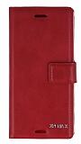 Eiroo Sony Xperia X Cüzdanlı Yan Kapaklı Kırmızı Deri Kılıf