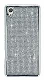 Eiroo Sony Xperia X Taşlı Silver Silikon Kılıf