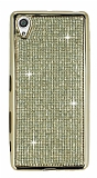 Eiroo Sony Xperia X Taşlı Gold Silikon Kılıf