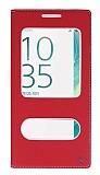 Sony Xperia XA Ultra Gizli Mıknatıslı Çift Çerçeveli Kırmızı Deri Kılıf